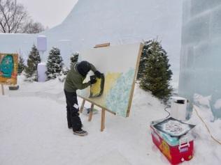 Du street-art dans le château de glace
