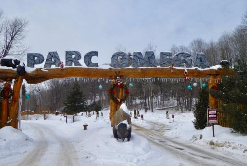 Entrée du Parc Omega sous la neige